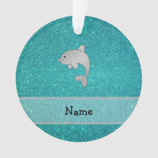 Personalized name dolphin turquoise glitter