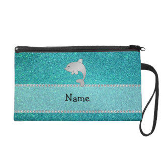 Personalized name dolphin turquoise glitter wristlets