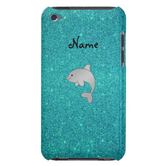 Personalized name dolphin turquoise glitter barely there iPod case