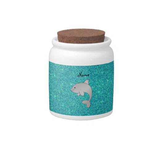 Personalized name dolphin turquoise glitter candy dishes