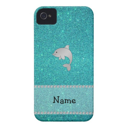 Personalized name dolphin turquoise glitter iPhone 4 Case-Mate cases
