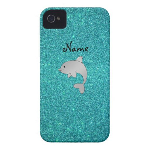 Personalized name dolphin turquoise glitter iPhone 4 cover