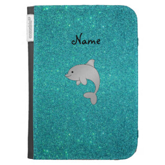 Personalized name dolphin turquoise glitter kindle cases