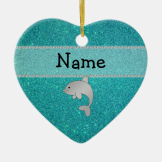 Personalized name dolphin turquoise glitter ceramic ornament