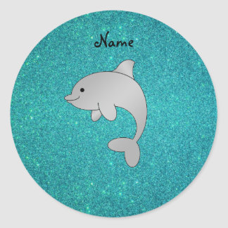 Personalized name dolphin turquoise glitter classic round sticker