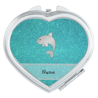 Personalized name dolphin turquoise glitter compact mirror