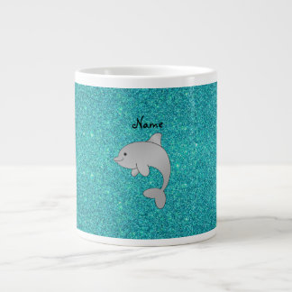 Personalized name dolphin turquoise glitter giant coffee mug