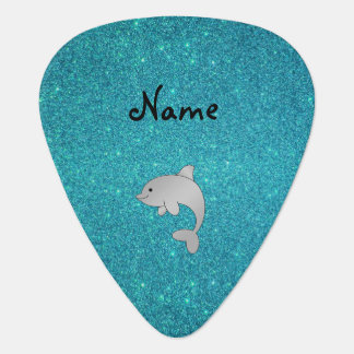 Personalized name dolphin turquoise glitter guitar pick