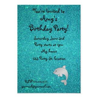 """Personalized name dolphin turquoise glitter 5"""" x 7"""" invitation card"""