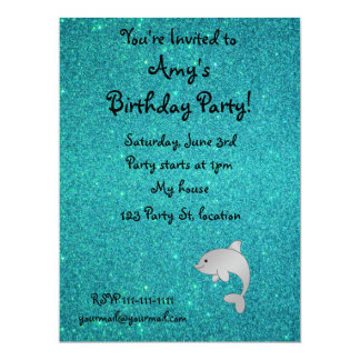 "Personalized name dolphin turquoise glitter 6.5"" x 8.75"" invitation card"