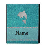 Personalized name dolphin turquoise glitter iPad folio covers