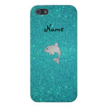 Personalized name dolphin turquoise glitter iPhone 5/5S cases
