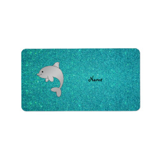 Personalized name dolphin turquoise glitter address label