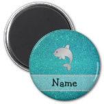 Personalized name dolphin turquoise glitter refrigerator magnets