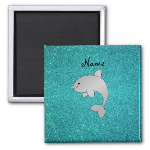 Personalized name dolphin turquoise glitter fridge magnets