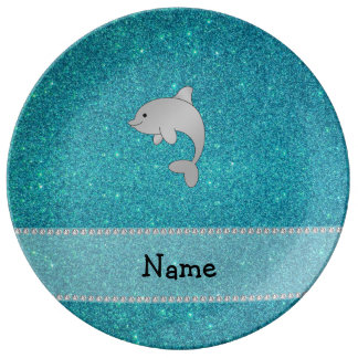 Personalized name dolphin turquoise glitter porcelain plate