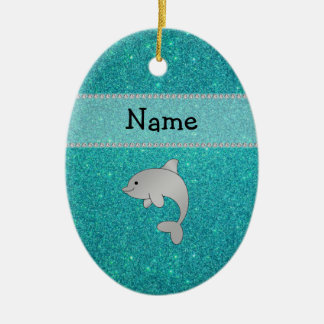 Personalized name dolphin turquoise glitter christmas ornament