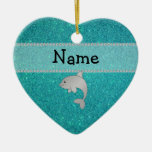 Personalized name dolphin turquoise glitter christmas ornaments