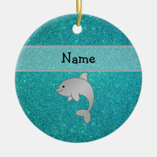 Personalized name dolphin turquoise glitter ornament