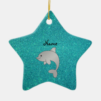 Personalized name dolphin turquoise glitter christmas tree ornaments