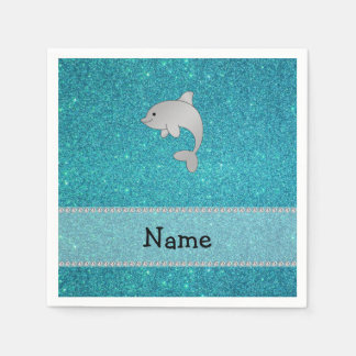 Personalized name dolphin turquoise glitter standard cocktail napkin