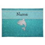 Personalized name dolphin turquoise glitter cloth place mat
