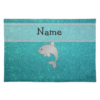 Personalized name dolphin turquoise glitter place mat