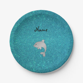 Personalized name dolphin turquoise glitter 7 inch paper plate