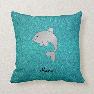 Personalized name dolphin turquoise glitter throw pillow