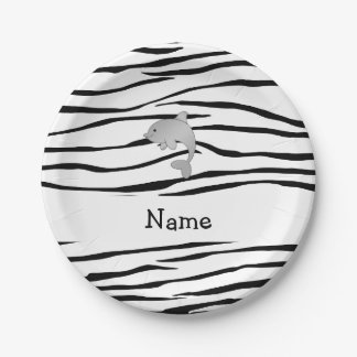 Personalized name dolphin zebra stripes 7 inch paper plate