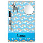 Personalized name donkey blue rainbows dry erase whiteboard