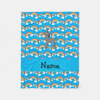 Personalized name donkey blue rainbows fleece blanket