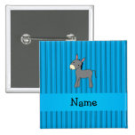 Personalized name donkey blue stripes buttons