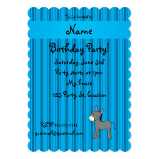 Personalized name donkey blue stripes card