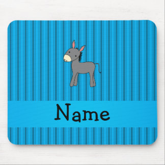 Personalized name donkey blue stripes mouse pad