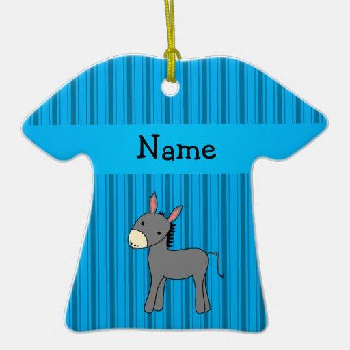 Personalized name donkey blue stripes christmas tree ornaments