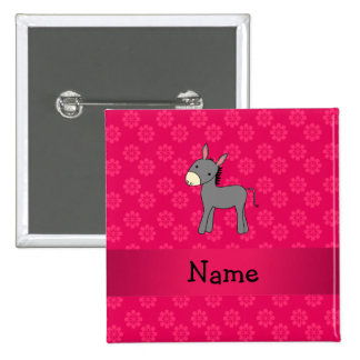 Personalized name donkey pink flowers button