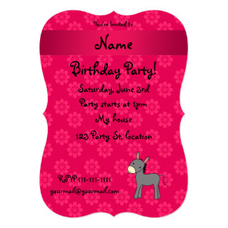 Personalized name donkey pink flowers announcements