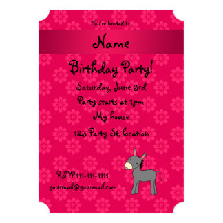 Personalized name donkey pink flowers personalized invitation
