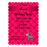 "Personalized name donkey pink flowers 5"" x 7"" invitation card"