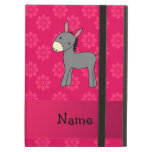 Personalized name donkey pink flowers iPad cases