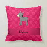 Personalized name donkey pink flowers pillow