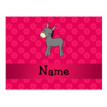 Personalized name donkey pink flowers post cards