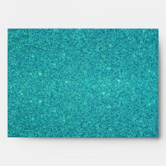Personalized name donkey turquoise glitter envelopes
