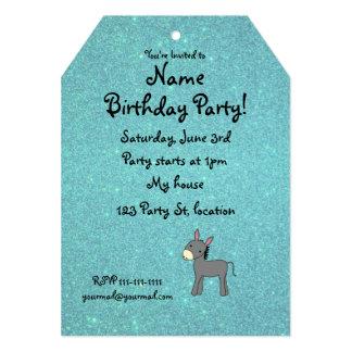 Personalized name donkey turquoise glitter custom invitations