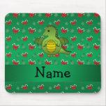 Personalized name dragon green candy canes bows mousepad