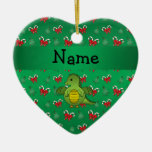 Personalized name dragon green candy canes bows christmas ornament