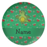 Personalized name dragon green candy canes bows plates