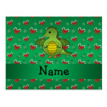 Personalized name dragon green candy canes bows post cards
