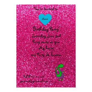 Personalized name dragon hot pink glitter 5x7 paper invitation card